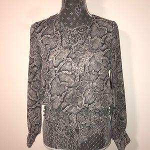 Snake-Print Top with Smocked Hem (Contemporary) XS